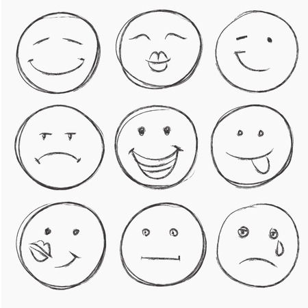 Illustration pour vector set of hand drawn faces, smiles isolated - image libre de droit