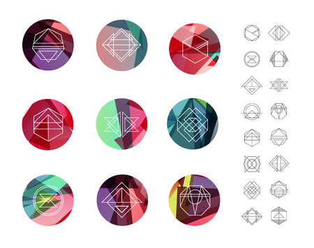 Illustration pour Set of colored crystal circles in polygon style with geometric shapes. Geometric hipster retro background and logos. - image libre de droit