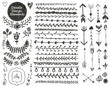 Illustration pour Collection of hand drawn doodle decoration design elements - image libre de droit
