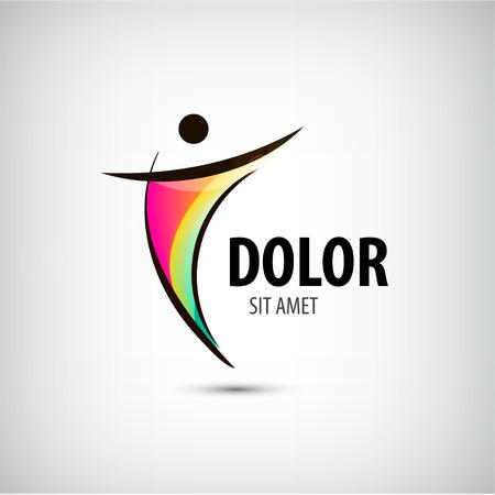 Illustration pour Corporate Success Health Winner logo template. Business concept. Human abstract. Vector line colorful icon. - image libre de droit