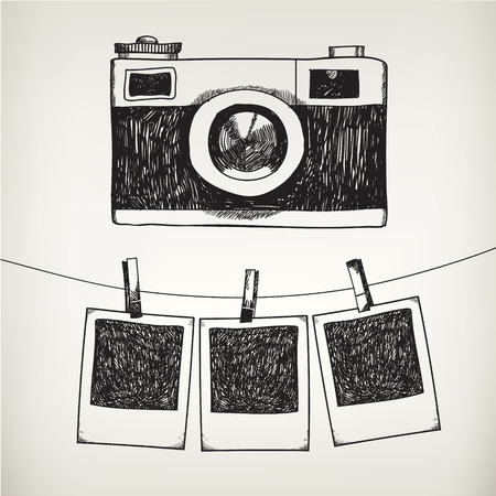 Illustration pour Vector hand drawn doodle illustration of retro photo frames and camera. Hanging photos in a photo studio. - image libre de droit