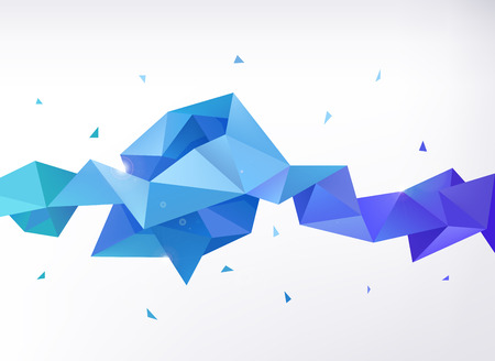Illustration for Vector abstract colorful blue faceted crystal banner, 3d shape with triangles, geometric, modern template - Royalty Free Image