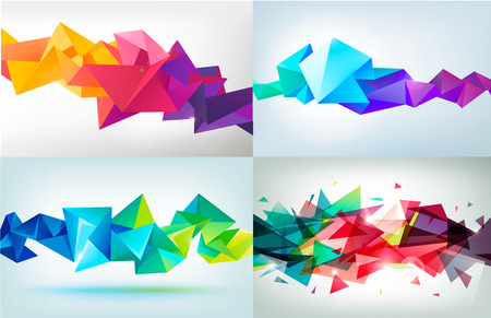 Ilustración de Vector set of faceted 3d crystal colorful shapes, banners. - Imagen libre de derechos