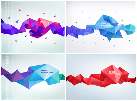 Illustration for Vector set of faceted 3d crystal colorful shapes, banners. - Royalty Free Image