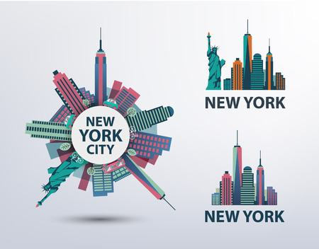 Illustration pour Vector set of NYC, New York City icons, logos, illustrations, banners. Skyline, Statue of Liberty - image libre de droit
