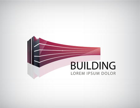Foto de Vector horizontal red 3d building, office logo, icon isolated. Identity - Imagen libre de derechos