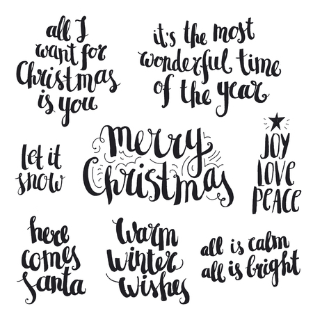Vector set of ink hand drawn Christmas and winter lettering, quotes isolated. Black and white