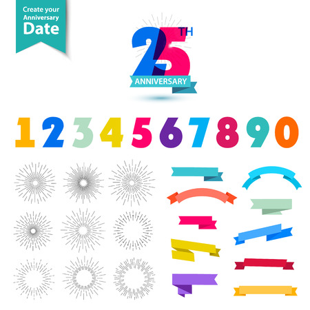 Illustration for Vector set of anniversary numbers design. Create your own icons, compositions with ribbons, dates and sunbursts . Colorful retro collection - Royalty Free Image