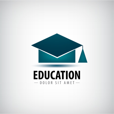 Photo pour Vector education logo, icon isolated. University school, high degree hat - image libre de droit