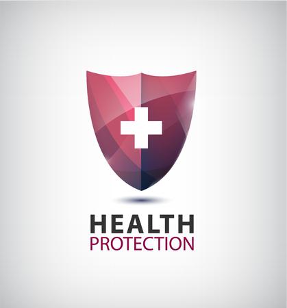 Photo pour Vector medical logo, health protection logo, shield with cross isolated. - image libre de droit