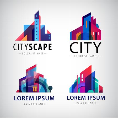 Illustration pour Vector set of city scape logos, building logos, property logos, town, skyscrapers logos, icons isolated. Houses logo - image libre de droit