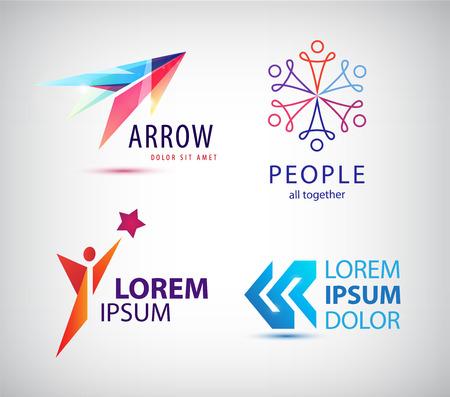 Vector set of abstract logo design, arrow logo, man, winner logo, people group logo, team family logo. Business identity template