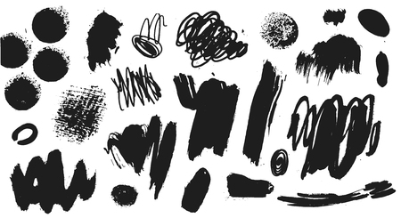 Ilustración de Vector collection of black paint, ink brush strokes, brushes, lines. Grunge artistic design elements, illustration. Isolated on white background. Freehand drawing - Imagen libre de derechos