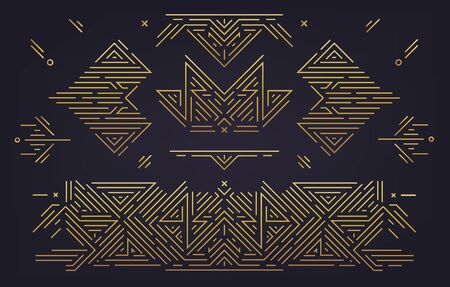 Illustration for Vector set of abstract geometric design elements, Luxury Vintage Artdeco decorations, dividers. Linear style - Royalty Free Image