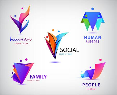 Ilustración de Vector set of men, people group, family logos. Child adoption logo collection and charitable foundations - Imagen libre de derechos