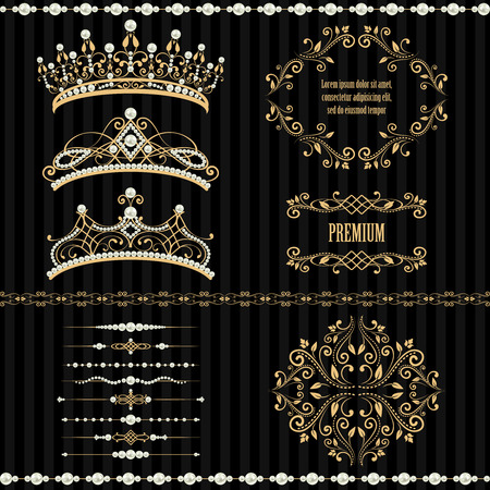 Illustration for Royal design elements, vintage frames, dividers, borders, pearls and diadems in golden beige. illustration. Isolated on striped black background. Can use for birthday card, wedding invitation - Royalty Free Image
