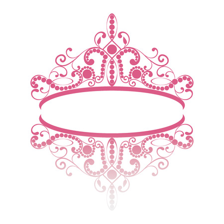 Illustration for diadem. elegance feminine tiara with reflection. in pink colour isolated on white background. vector illustration. - Royalty Free Image