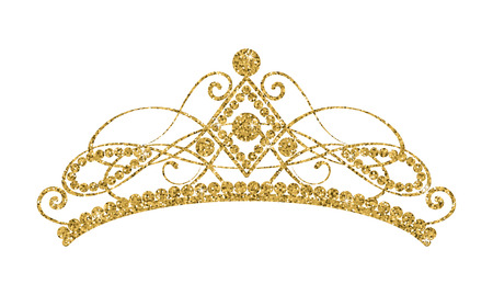 Illustration for Glittering Diadem. Golden tiara isolated on white background. Vector illustration - Royalty Free Image