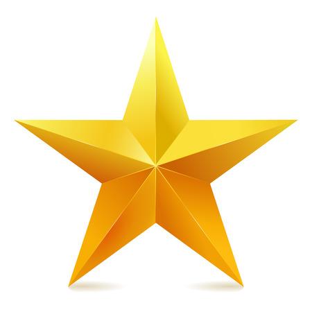 Illustration pour Single golden star shine on white background. - image libre de droit