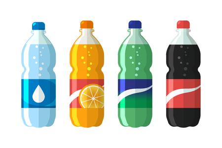 Ilustración de set of plastic bottle of water and sweet soda cola, sprite, fantasy orange soda. Flat vector soda icons illustration. - Imagen libre de derechos