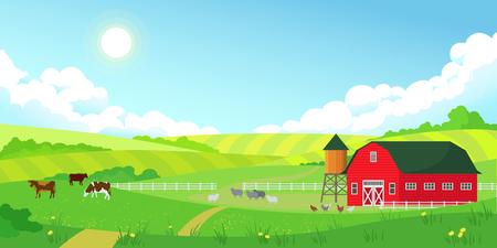 Ilustración de Colorful farm summer landscape, blue clear sky with sun, red barn, herd of cows, agriculture, flat style vector illustration - Imagen libre de derechos