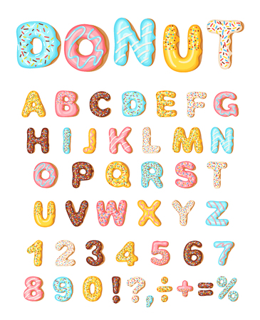 Ilustración de Donut icing latters, font of donuts. Bakery sweet alphabet. Letters and numbers with pink, yellow, blue donut. Donut alphabet and numbers, isolated on white background, vector illustration - Imagen libre de derechos