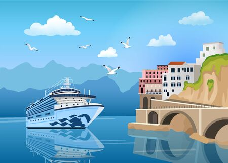 Ilustración de Landscape with cruise ship near coast with buildings and houses, tourism and travelling concept, seagulls in clear blue sky, vector illustration - Imagen libre de derechos