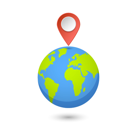 Illustration pour Planet and map pins icon. Earth and colorful map label. Modern graphic elements for web banners, web sites, printed materials, infographics. Vector illustration. - image libre de droit