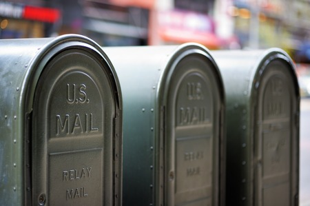 Foto de Row of outdoors mailboxes in NY, USA - Imagen libre de derechos