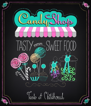 Photo for Illustration of vintage graphic element on the chalkboard. Candy Shop - Royalty Free Image