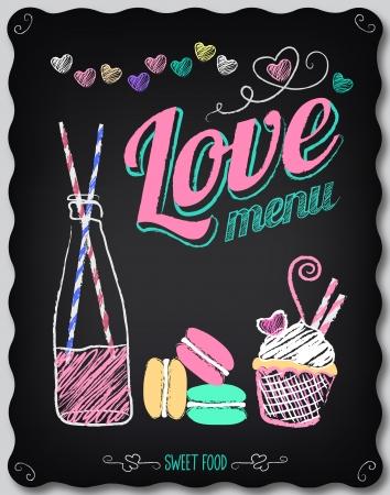 Ilustración de Illustration of a vintage graphic element for menu on the chalkboard - Imagen libre de derechos