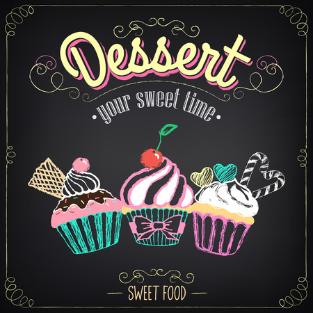 Illustration pour Vintage card Desserts with cupcakes. Chalking, freehand drawing - image libre de droit