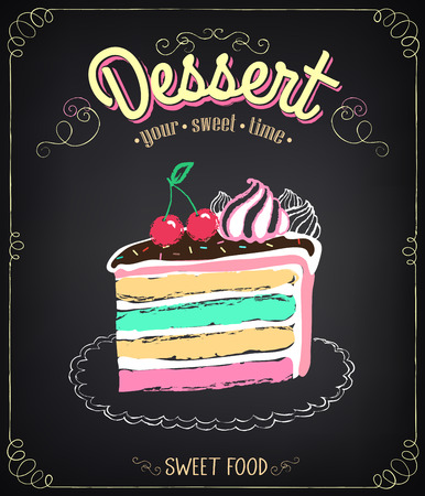 Illustration pour Vintage card Desserts with cake. Chalking, freehand drawing - image libre de droit