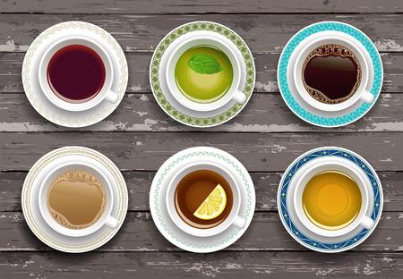 Ilustración de Vector illustration. Set of coffee and tea cups on a wooden table. Top view - Imagen libre de derechos