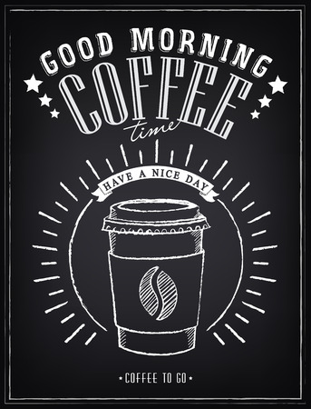 Illustration pour Vintage Poster - Coffee, Freehand drawing on the chalkboard - image libre de droit