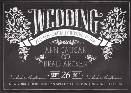 Ilustración de Wedding invitation card with floral background - Imagen libre de derechos