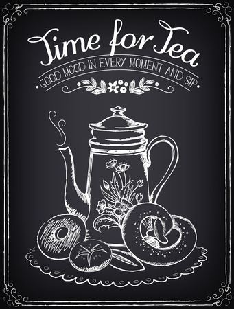 Illustration pour Illustration with the words Time for tea and teapot, bakery. Freehand drawing with imitation of chalk sketch - image libre de droit