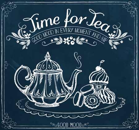 Illustration pour Illustration with the words Time for tea and teapot, sweet pastries. Freehand drawing with imitation of chalk sketch - image libre de droit