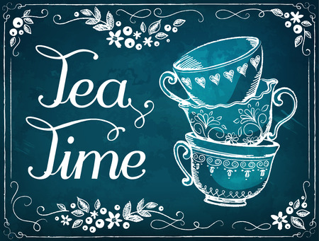 Illustration pour Illustration Tea Time with cups. Floral frame.  imitation of chalk sketch - image libre de droit