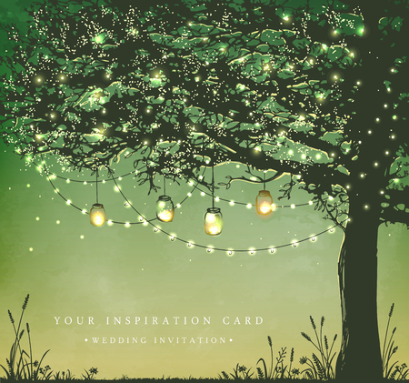 Ilustración de Hanging decorative holiday lights for a back yard party. Garden party invitation.  Inspiration card for wedding, date, birthday, tea party - Imagen libre de derechos