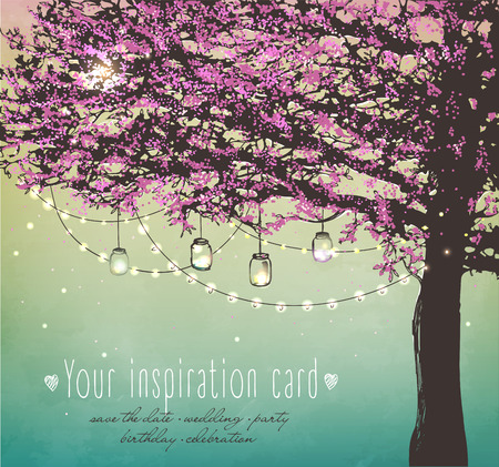 Ilustración de pink tree with decorative lights for party. Garden party invitation.  Inspiration card for wedding, date, birthday, tea party - Imagen libre de derechos