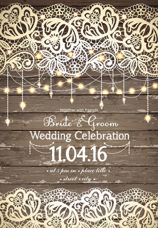 Illustration for Wedding invitation card. Beautiful lace with decorative lights for party. Vintage wooden background. Inspiration card for wedding, date, birthday, tea or garden party - Royalty Free Image
