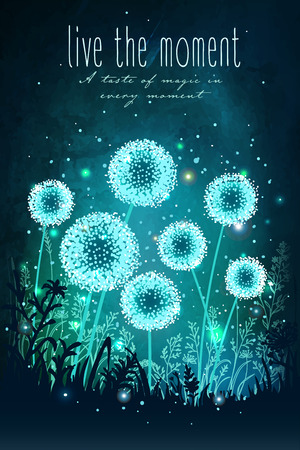 Illustration pour Amazing dandelions with magical lights of fireflies at night sky background. Unusual vector illustration. Inspiration card for wedding, date, birthday, holiday or garden party - image libre de droit