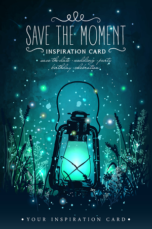 Ilustración de Amazing vintage lanten on grass with magical lights of fireflies at night sky background. Unusual vector illustration. Inspiration card for wedding, date, birthday, tea or garden party - Imagen libre de derechos