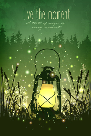 Illustration pour Amazing vintage lanten on grass with magical lights of fireflies at night sky background. Unusual vector illustration. Inspiration card for wedding, date, birthday, tea or garden party - image libre de droit