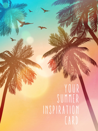 Illustration pour Summer beach illustration. Inspiration card for wedding, date, birthday, beach party invitation - image libre de droit