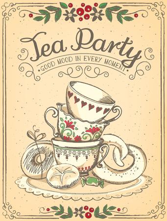 Illustration pour Illustration Tea Time with cute cups. floral frame. Sketch - image libre de droit