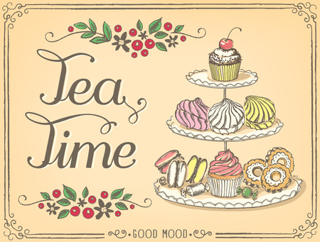 Illustration pour Illustration with the words Tea Time three-tiered stand with sweet pastries. Freehand drawing with imitation of sketch - image libre de droit