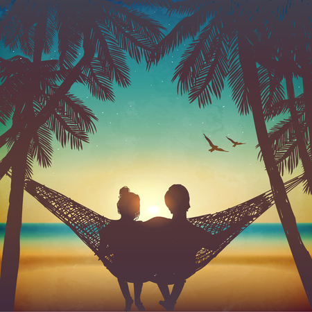Photo pour Couple in love at the beach on hammock. Inspiration for wedding, date, romantic travel card. Family - image libre de droit