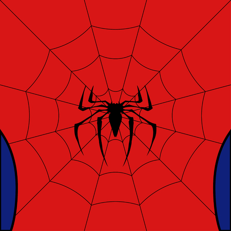 Illustrazione per Vector black web with spider on red background. - Immagini Royalty Free